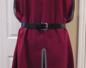 "Surcoat, Ready Made, Dark Red with Grey Trim , 58"" Chest, Extra Large"
