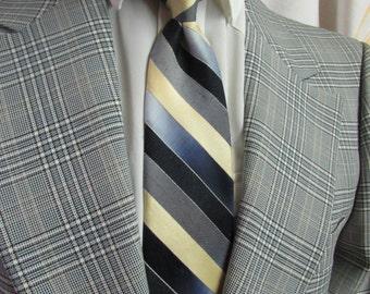Vintage 1960's Tie Clip On Snapper Tie ~ Don Loper Beverly Hills ~ Striped Blues, Grey, Yellow & Black Necktie