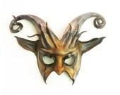 Leather Goat Mask with Curled Horns Krampus Baphomet Devil