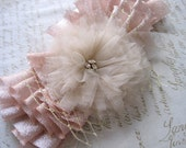 Blush bridal sash / rose gold flower ribbon belt