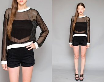 Vintage 90's Black Fishnet Mesh Sheer Cropped Shirt Blouse // Long Sleeve Goth Grunge Top