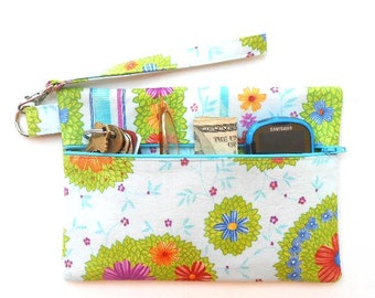 Ladies Front Zippered Clutch, Wristlet, Small Zipper Pouch, Makeup or Camera Bag, Wallet With Strap, Cell Phone Wristlet, Womans Small Purse