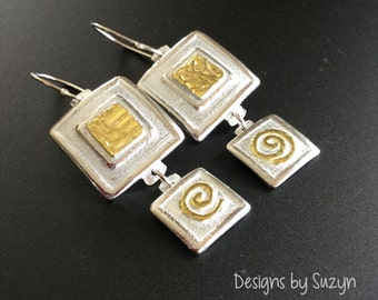 Recycled  Square, sterling and fine silver, 22K gold, earrings, dangle, lightweight, designs by Suzyn,  not oxidized, brushed finish