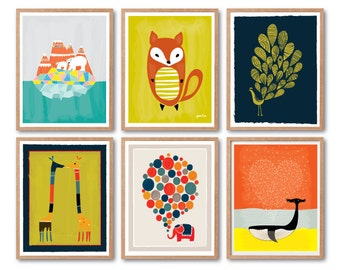 Baby Nursery decor, Kids room decor, Polar Bear, Baby Fox, Peacock, Giraffes, Elephant, Whale, Animal Art print, Woodland animals, Wall Art