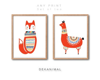 Fox illustration, llama art print, PRINT SET, Woodland Nursery Decor, Baby Animal Art, Animal Print, Kids wall decor, Living room decor