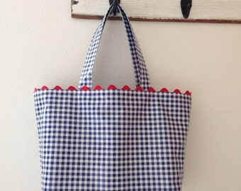 Beth's Large Navy Blue Gingham Oilcloth Tote Bag with Red  Rick Rack