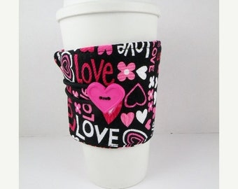 SALE Valentines Day Hot Pink Love and Hearts Coffee Sleeve Adjustable Hot Pink White Red Black Valentines Day