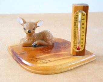 Vintage Grand Canyon Deer Thermometer Souvenir • Wood and Plastic National Park Souvenir • Grand Canyon National Park Souvenir Deer