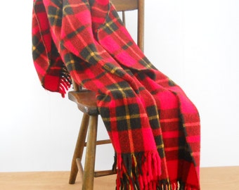 Vintage Plaid Blend Blanket • Faribo Red Plaid Car Blanket • Picnic Throw Blanket