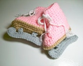 Pink Figure Skate Booties  Fits approx.  6 months Crochet Baby Booties