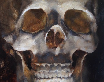 "Skull Original Oil Painting ""J"" by Kristina Laurendi Havens"