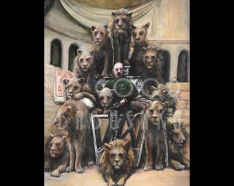The One-Armed Lion Tamer, Original Painting, Circus, Sideshow, Captain Jack Bonavita, Portrait, Animal Trainer, Lions, Coney Island,