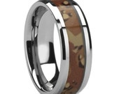 His or Her Tungsten Wedding Ring, Desert Camo Wedding Band for Him or Her, His or Her Statement Wedding band