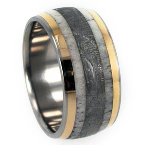 Gibeon Meteorite Wedding Band, Deer Antler Ring With 18k Yellow Gold Pinstripes, Titanium Ring