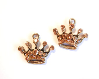 Pair of Small Crown Charms Burnished Gold-tone Topaz Rhinestone Encrusted