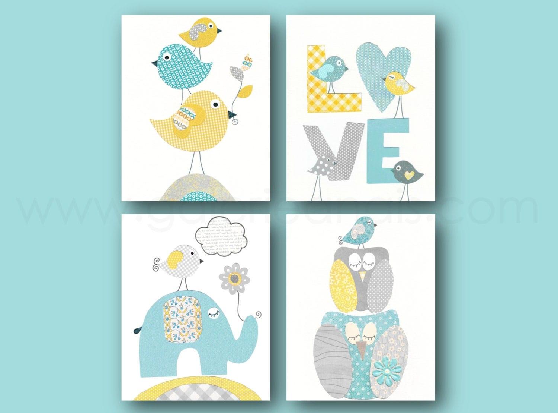 Aqua yellow blue and gray nursery art print kids by for Chambre 8x10