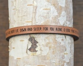 psalm 4:8 - adjustable leather bracelet  (additional colors available)