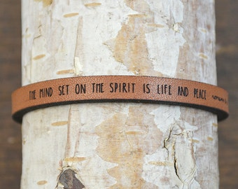 romans 8:6 - adjustable leather bracelet