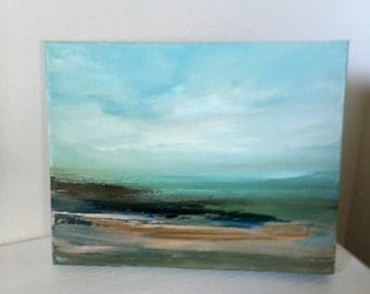 "Shore- Oil Painting- 8 x 10-  Original Oil Painting- 1-1/2 "" thick  painted edge- ready to hang"