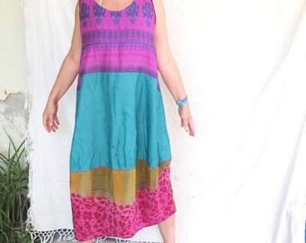 Dress - Laila - OAK Vintage  Silk -  Slip on Summer Dress - made by Resplendent rags