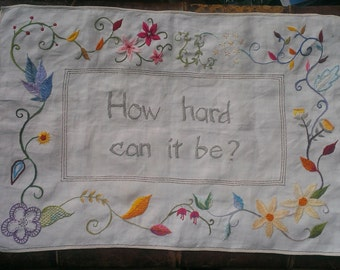 Hand embroidered flower cloth