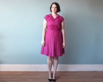 plus size dress / plus size magenta secretary dress / 1980s / XL