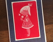 Vintage Girl Upcycled Blank Card