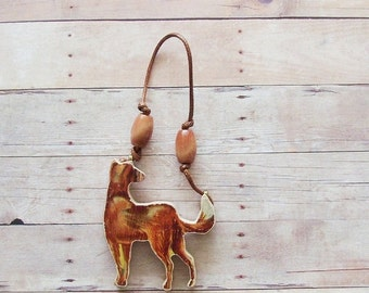 Wood Farm Dog Ornament / Upcycled 1950s Hand Cut Wood Piece / Brown Victory Farm Animal Mid Century Rustic Home Decor / OOAK Gift Under 20