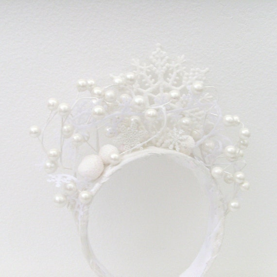 Winter Snow Queen Headband - Head Piece / White Snowflakes & Pearl White Berries Winter Bride Wedding Fashion / MADE-TO-ORDER Gift Under 100