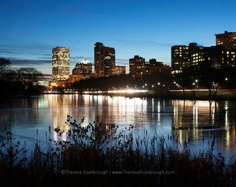Milwaukee Skyline Dusk, landscape photography wall art decor, Available in color or Black and White.