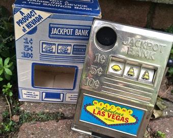 Little Las Vegas Slot machine bank, Viva Las Vegas, Vintage Jackpot Bank, old metal bank, vintage toy, metal toy, Executive toy