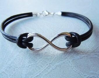 Infinity Bracelet, Black Leather Bracelet, Friendship Gift, Infinity Jewelry, Unisex Bracelet, Leather Infinity Bracelet, Birthday Gift