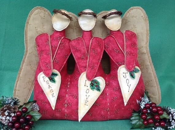 Mailed Fabric Art Pattern Christmas Decor Angels