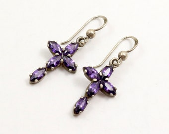 Vintage Amethyst Cross Earrings, Sterling Silver, Amethyst Crystal, Amethyst Earrings, Purple Cross, Cross Dangle, Cross Drop Earrings