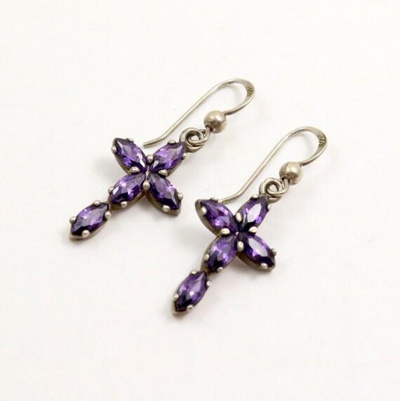Vintage Amethyst Crystal Cross Earrings, Sterling Silver
