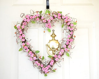 Pink Heart shaped wreath Carnation pink paper roses Hearth Wreath Mothers Day Valentines Day Spring Wreath Front door decor Year round decor