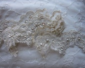 Champagne Gold beaded flower lace trim embellished embroidered organza doll bridal with pearls sequins flowers
