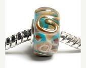 ON SALE 30% OFF Glass Lampwork Beads -  Large Hole Light Blue w/Metal Stringers Rondelle Bead -  Sc10031