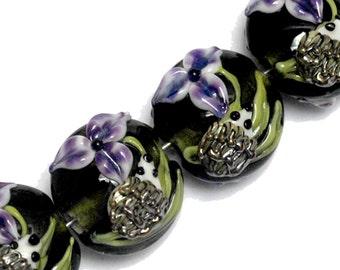 NEW! Four Iris and Critter Lentil Beads 10508612 - Handmade Glass Lampwork Bead Set