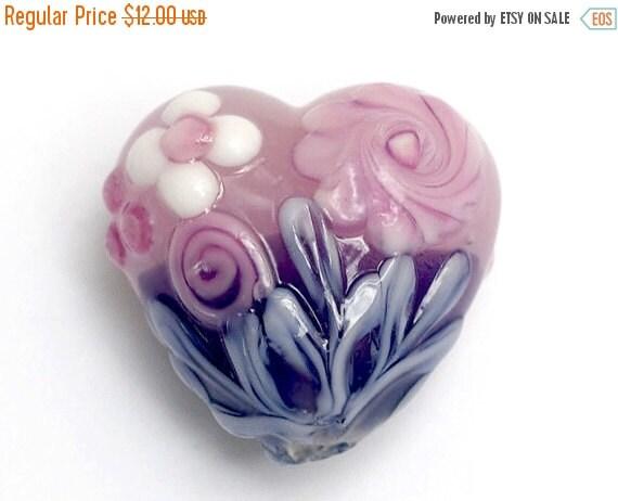 ON SALE 40% OFF Light Pink Flower w/Purple Heart Focal Bead - Handmade Glass Lampwork Bead 11812505