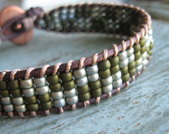 Sage and Olive Green Seed Bead Woven Leather Bracelet with Mosaic Button