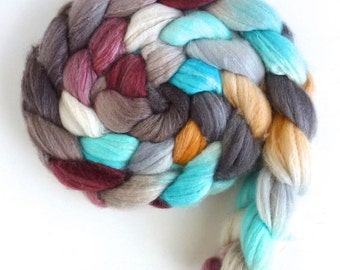 Merino/ Superwash Merino/ Silk Roving (Top) - Handpainted Spinning or Felting Fiber, Hat on the Table