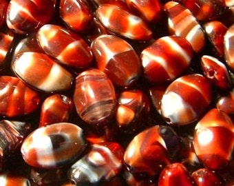 Beads - RARE Czech Glass Multi Colored Oval 12mm Bead (20) 4 sided Raised Ovals