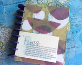 Fiona - 7x9 Disc Bound Journal with Ephemera Paper Inserts for Art Journaling or Planners
