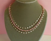 Pink Opal and Silver Heart Chain Three Strand Necklace
