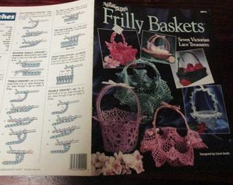 Thread Crochet Basket Patterns Frilly Baskets Needlecraft Shop 89H12 Crochet Pattern Leaflet