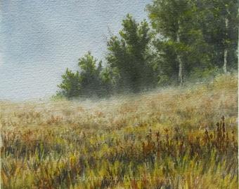End of Summer, original watercolor painting, landscape