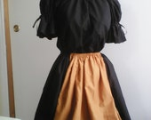 "Small BLACK/GOLD Short 20""Flowing Skirt -  ELASTIC waist with Black top short sleeve"