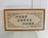 Vintage Cross Stitch Sampler Embroidery Hand Sewn Home Sweet Home Flowers