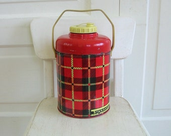 Vintage Drink Cooler, Vintage Plaid Thermos, Standard Jug, Insulated Water Cooler, Plaid Thermos, Plaid Jug, Red Plaid